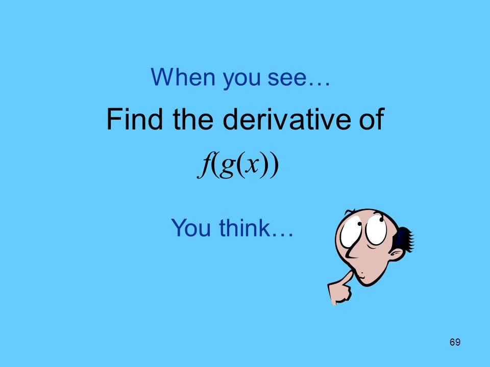 When you see… Find the derivative of f(g(x)) You think…