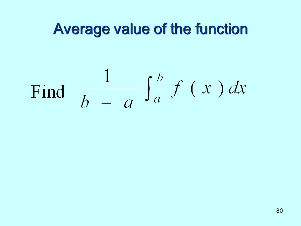 Average value of the function