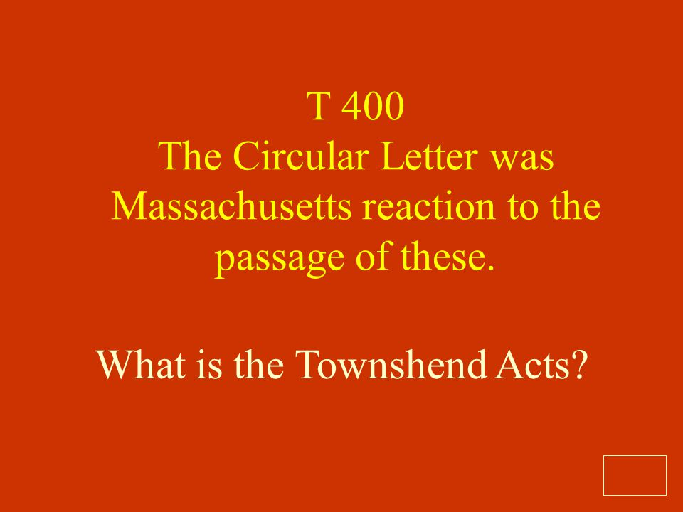 What is the Townshend Acts