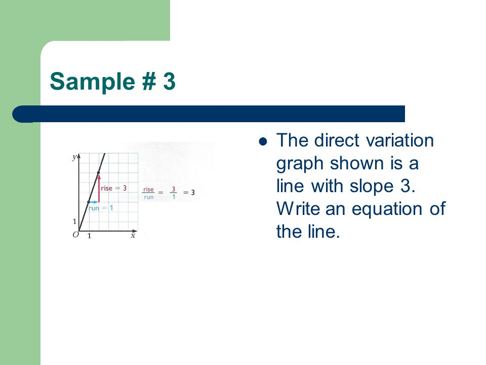Sample # 3 The direct variation graph shown is a line with slope 3. Write an equation of the line.