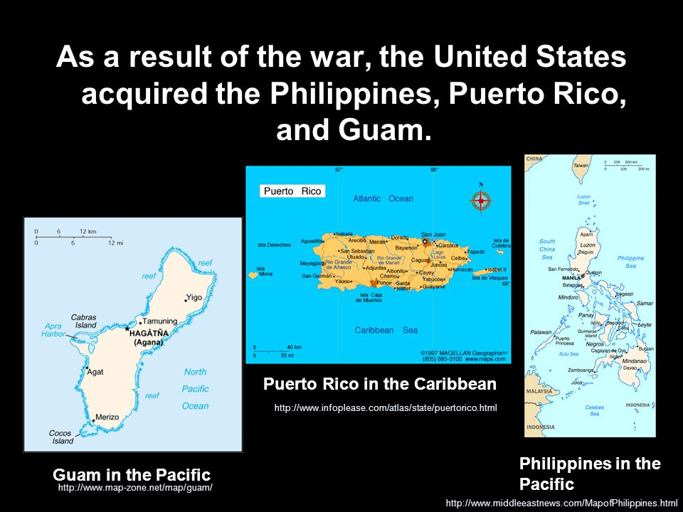 As a result of the war, the United States acquired the Philippines, Puerto Rico, and Guam.