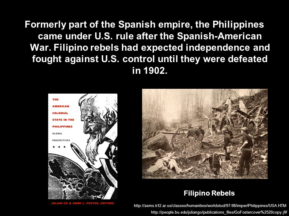 Formerly part of the Spanish empire, the Philippines came under U. S