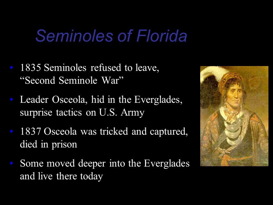 Seminoles of Florida 1835 Seminoles refused to leave, Second Seminole War Leader Osceola, hid in the Everglades, surprise tactics on U.S. Army.