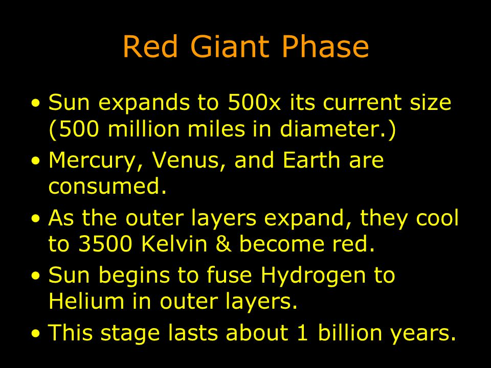 Red Giant Phase Sun expands to 500x its current size (500 million miles in diameter.) Mercury, Venus, and Earth are consumed.