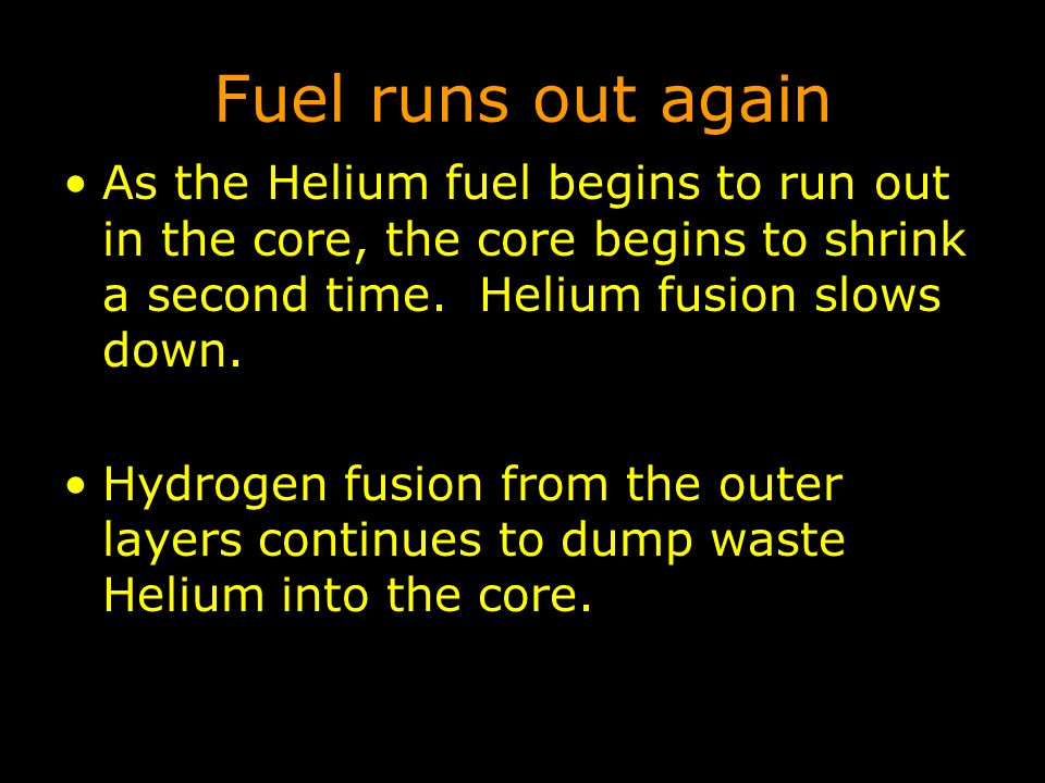 Fuel runs out again As the Helium fuel begins to run out in the core, the core begins to shrink a second time. Helium fusion slows down.
