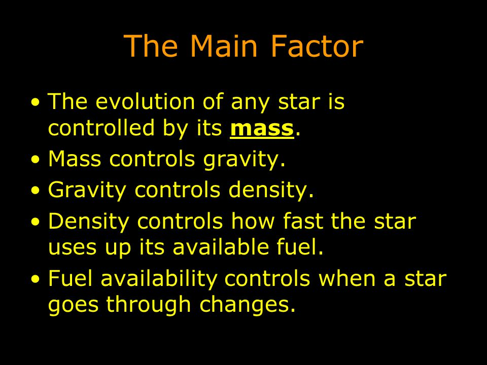 The Main Factor The evolution of any star is controlled by its mass.