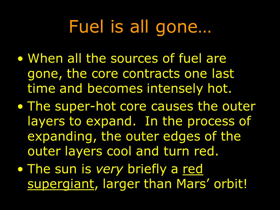 Fuel is all gone… When all the sources of fuel are gone, the core contracts one last time and becomes intensely hot.