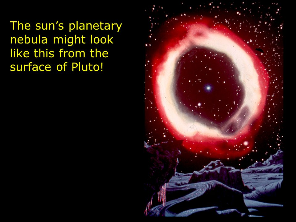 The sun's planetary nebula might look like this from the surface of Pluto!