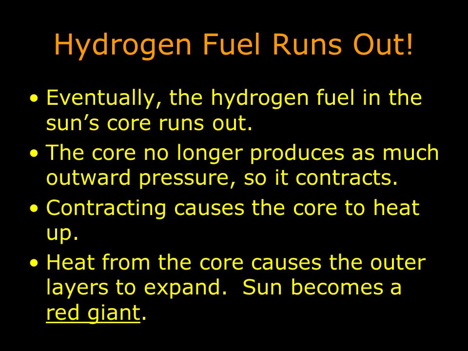 Hydrogen Fuel Runs Out! Eventually, the hydrogen fuel in the sun's core runs out.