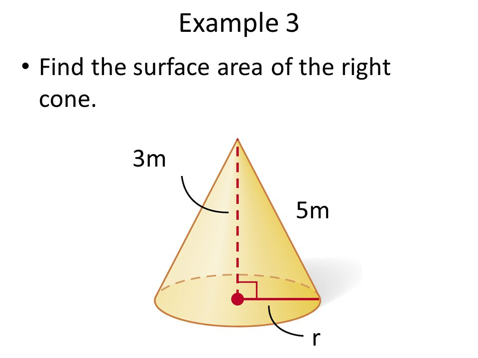 Example 3 Find the surface area of the right cone. 3m 5m r