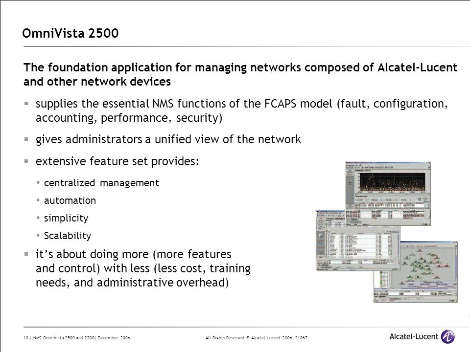 OmniVista 2500 The foundation application for managing networks composed of Alcatel-Lucent and other network devices.