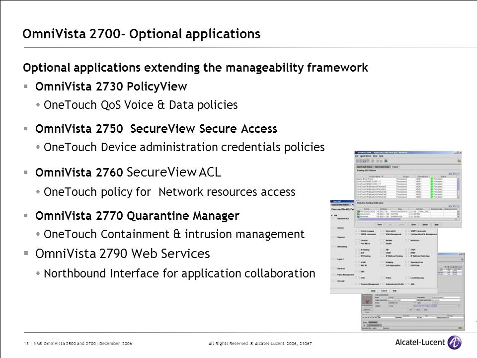 OmniVista 2700- Optional applications