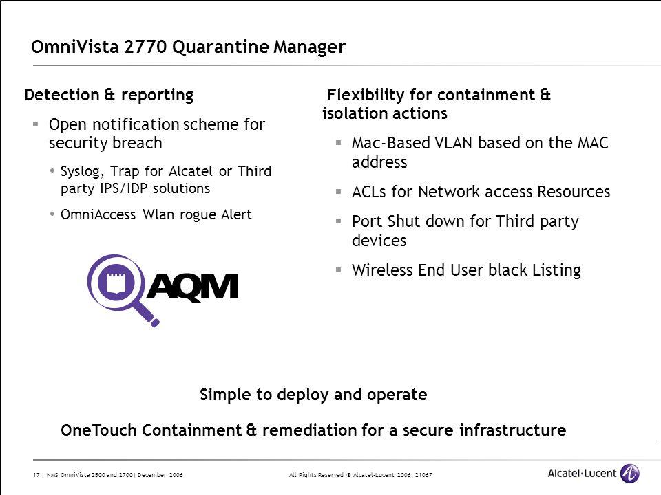 OmniVista 2770 Quarantine Manager