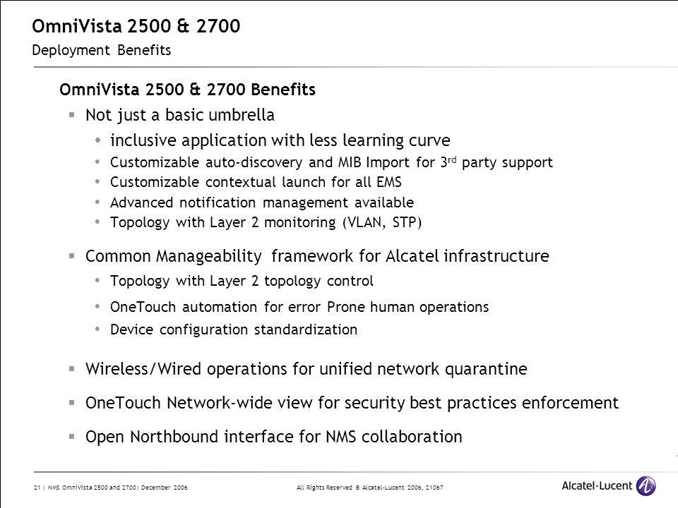 OmniVista 2500 & 2700 Deployment Benefits
