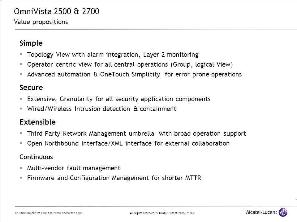OmniVista 2500 & 2700 Value propositions