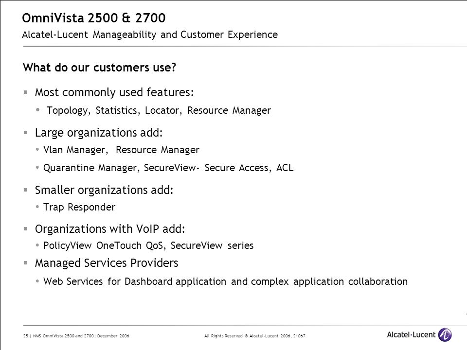 OmniVista 2500 & 2700 Alcatel-Lucent Manageability and Customer Experience