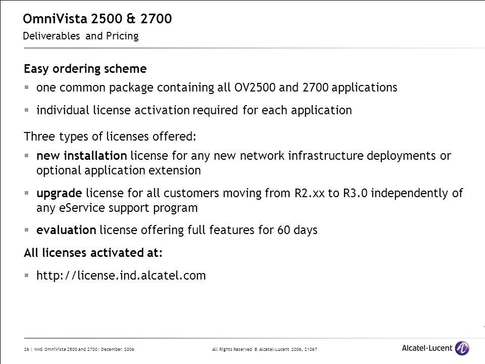 OmniVista 2500 & 2700 Deliverables and Pricing