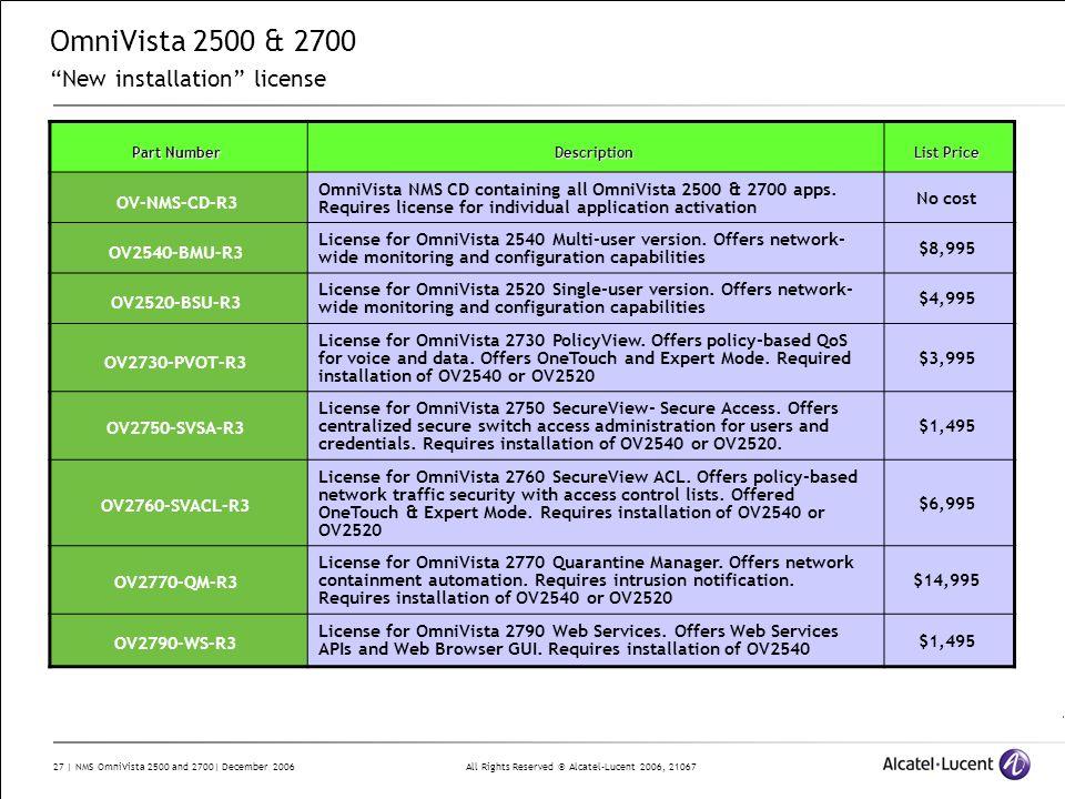 OmniVista 2500 & 2700 New installation license