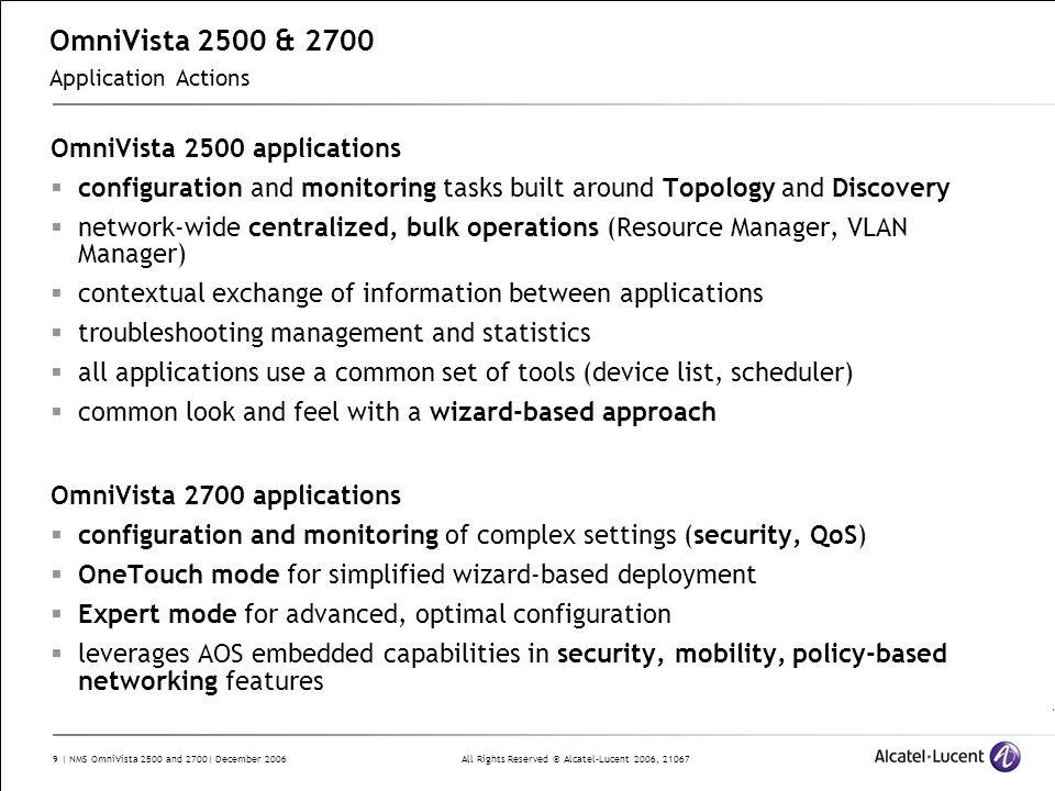 OmniVista 2500 & 2700 Application Actions