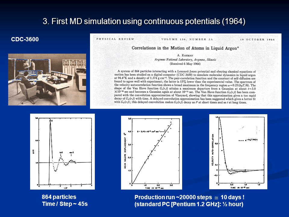 3. First MD simulation using continuous potentials (1964)