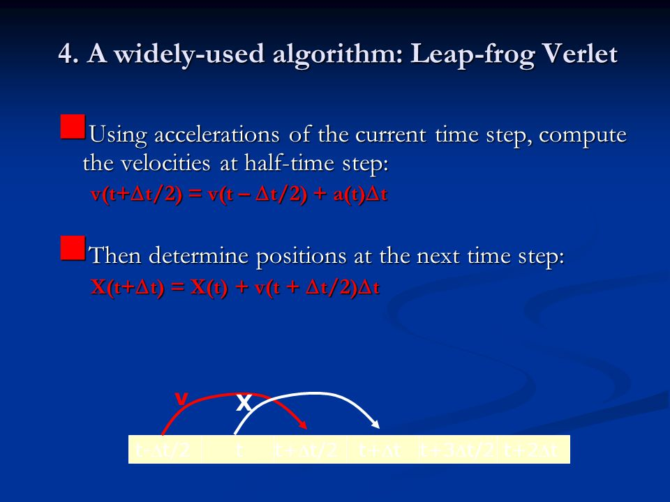 4. A widely-used algorithm: Leap-frog Verlet
