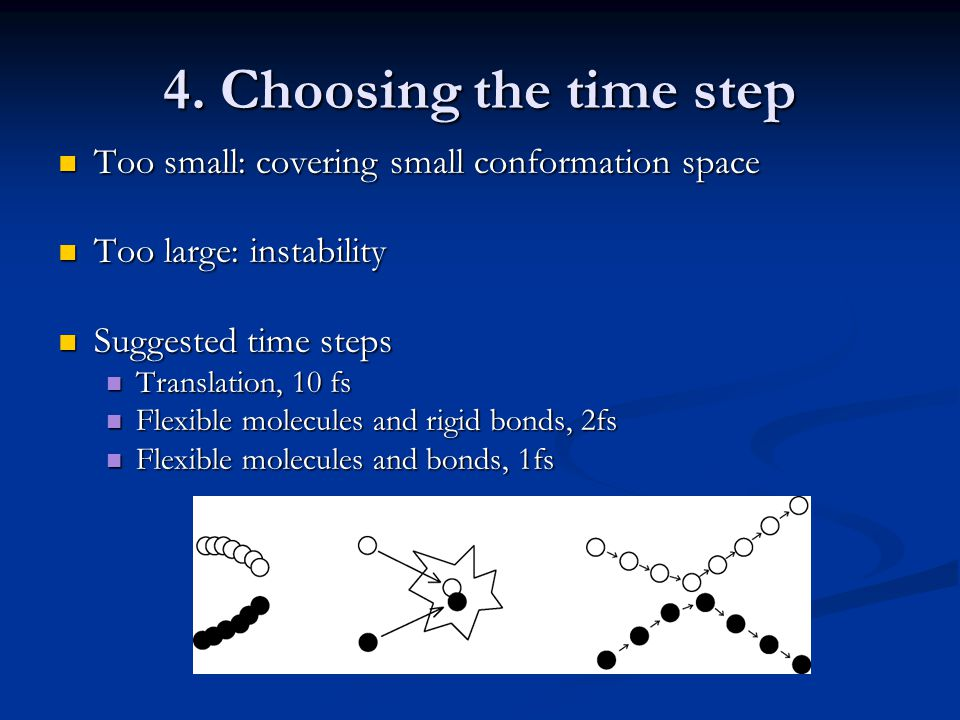 4. Choosing the time step Too small: covering small conformation space