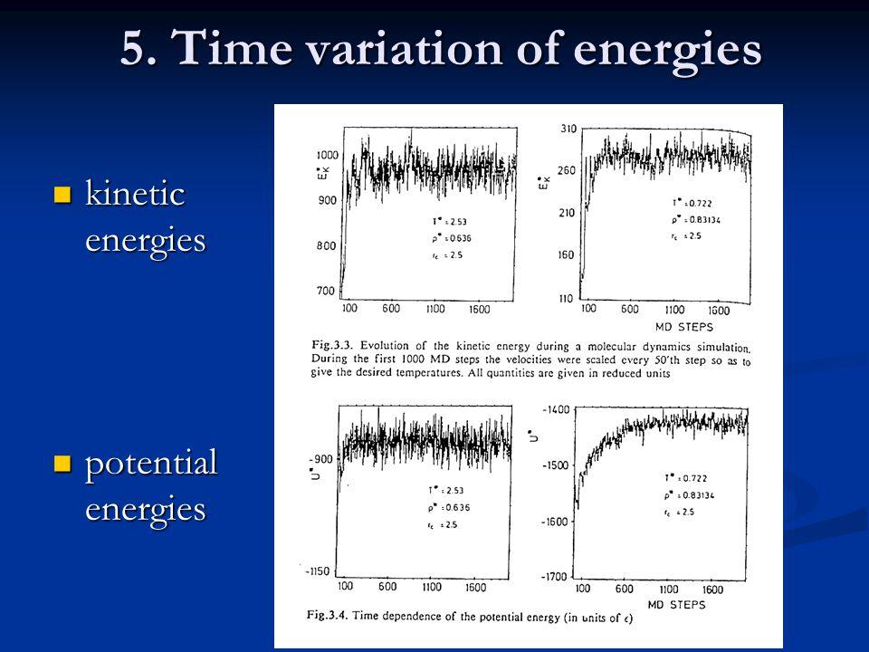 5. Time variation of energies