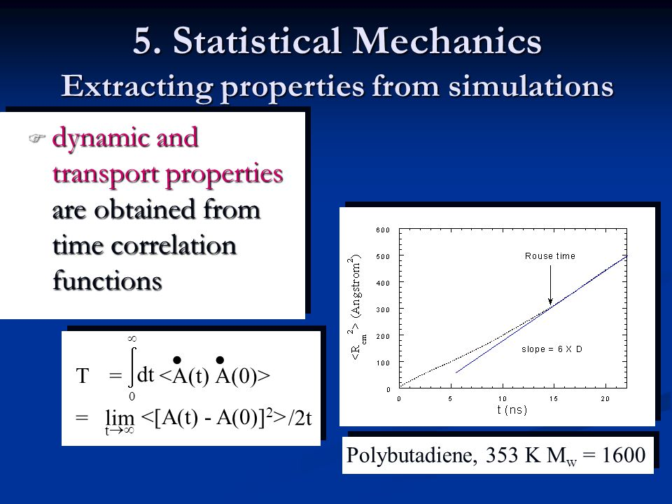 5. Statistical Mechanics Extracting properties from simulations