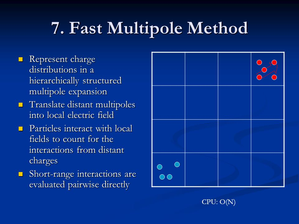 7. Fast Multipole Method Represent charge distributions in a hierarchically structured multipole expansion.