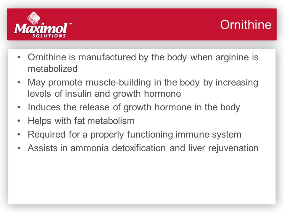 Ornithine Ornithine is manufactured by the body when arginine is metabolized.