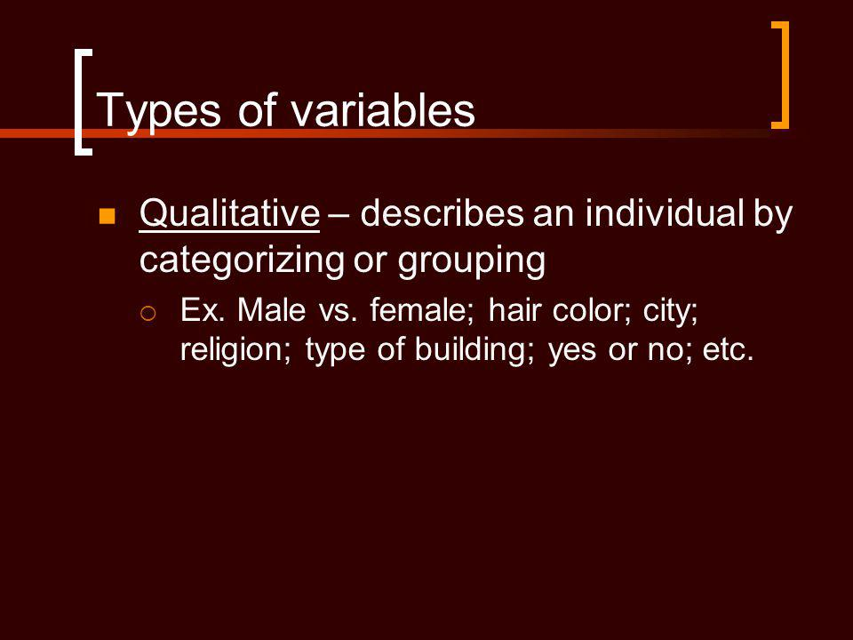 Types of variables Qualitative – describes an individual by categorizing or grouping.