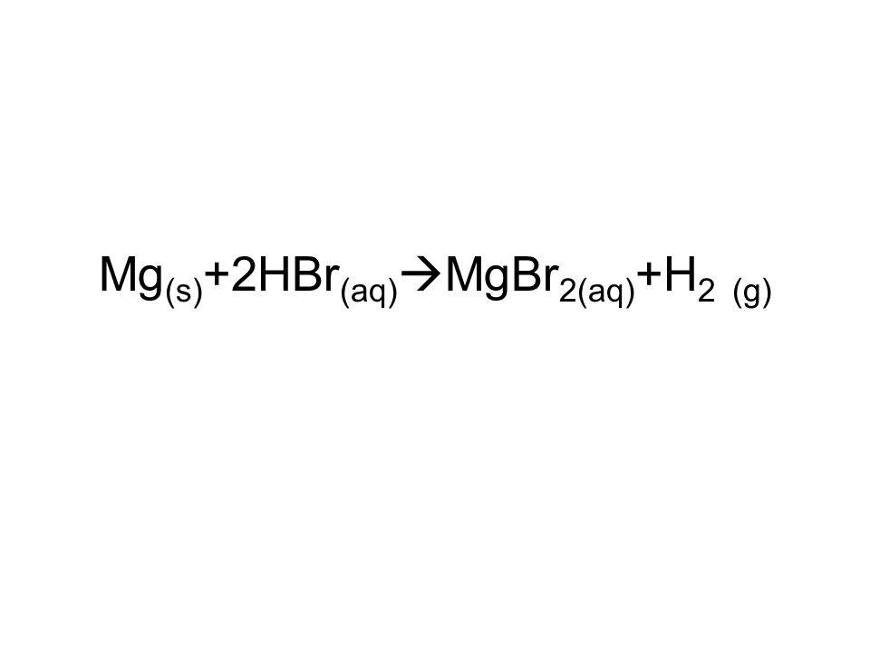 Mg(s)+2HBr(aq)MgBr2(aq)+H2 (g)