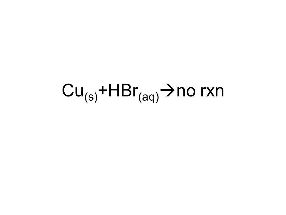 Cu(s)+HBr(aq)no rxn