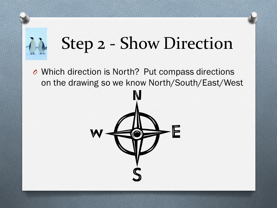 Step 2 - Show Direction Which direction is North.