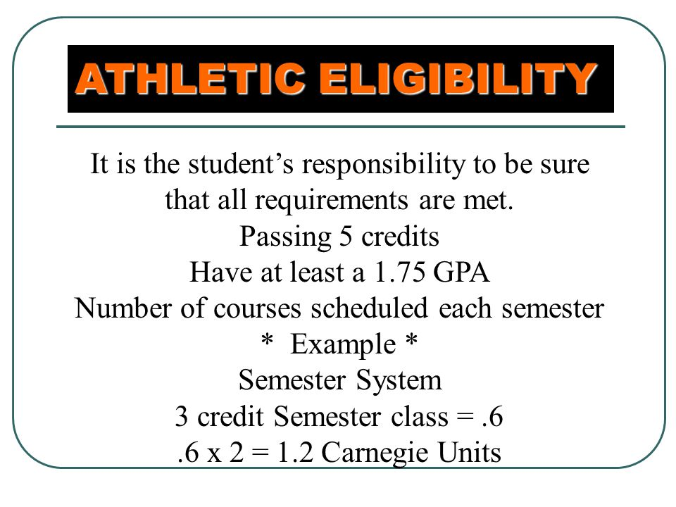 ATHLETIC ELIGIBILITY It is the student's responsibility to be sure