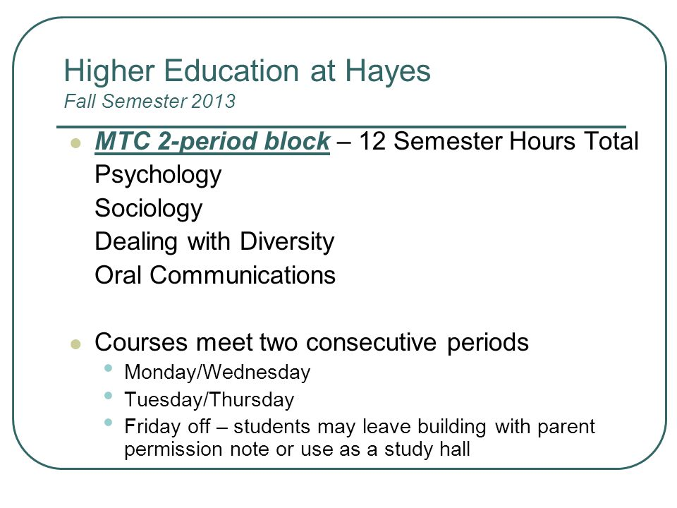 Higher Education at Hayes Fall Semester 2013