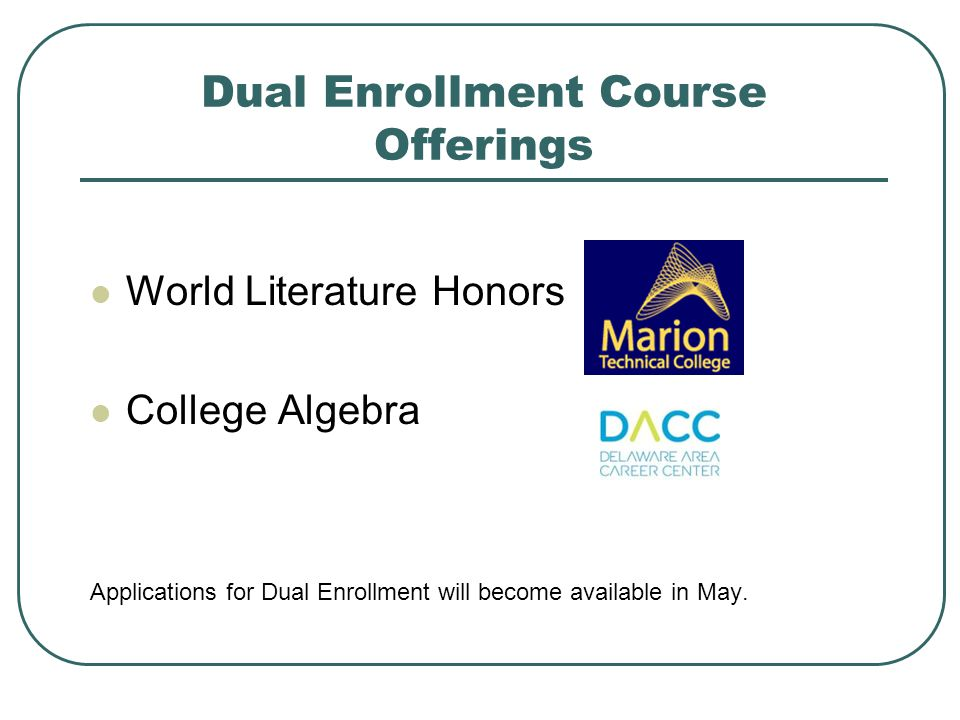 Dual Enrollment Course Offerings