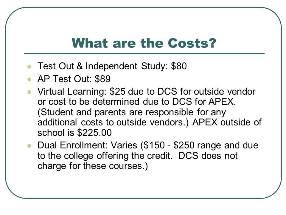 What are the Costs Test Out & Independent Study: $80 AP Test Out: $89