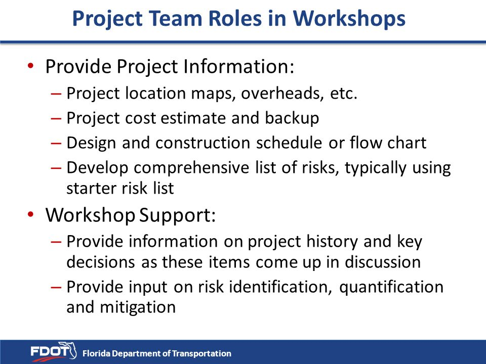 Project Team Roles in Workshops