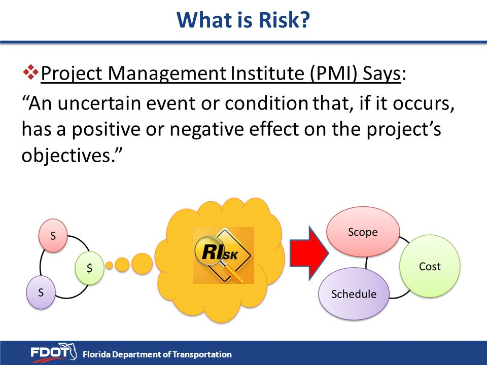 What is Risk Project Management Institute (PMI) Says:
