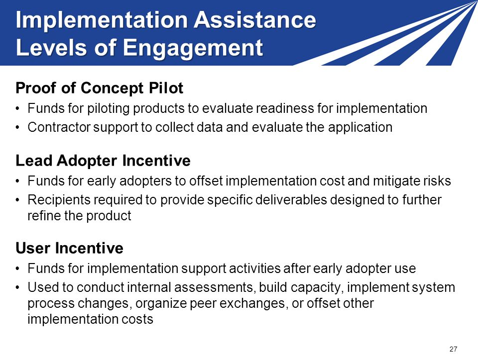 Implementation Assistance Levels of Engagement