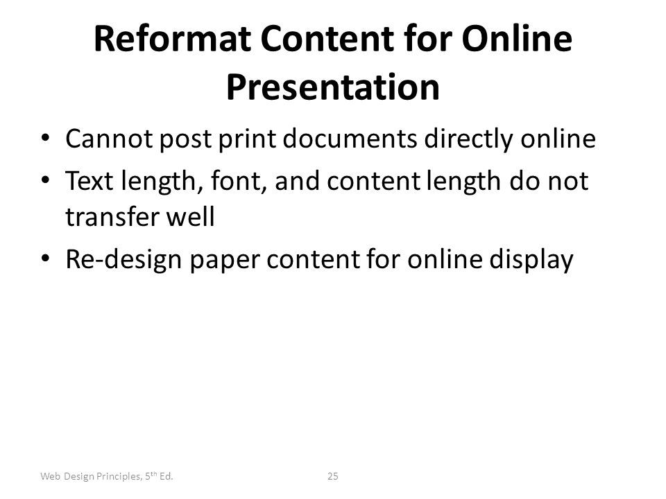 Reformat Content for Online Presentation
