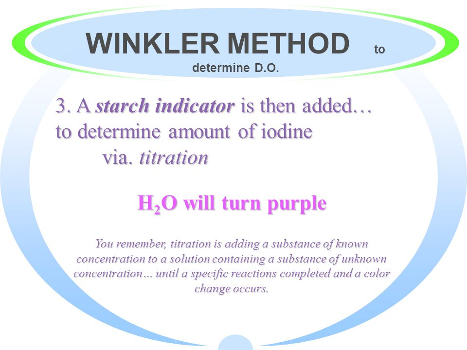 WINKLER METHOD to determine D.O.