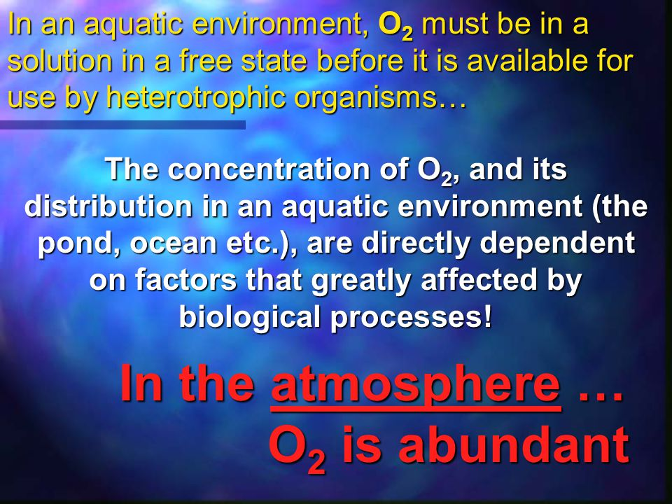 In the atmosphere … O2 is abundant
