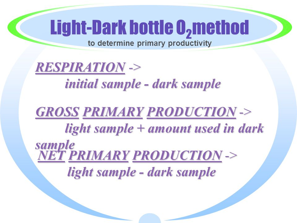 Light-Dark bottle O2method to determine primary productivity
