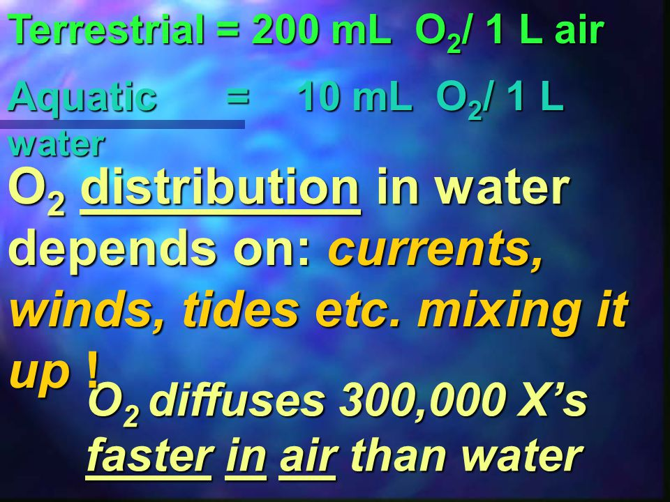 Terrestrial = 200 mL O2/ 1 L air