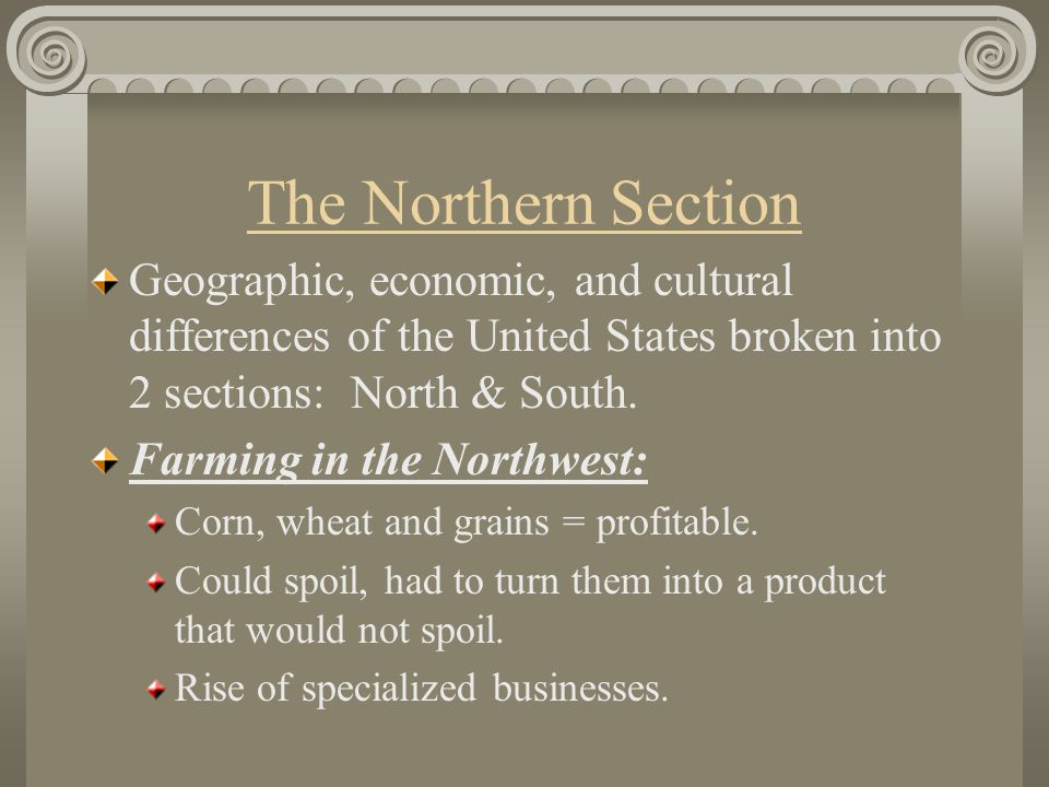 The Northern Section Geographic, economic, and cultural differences of the United States broken into 2 sections: North & South.