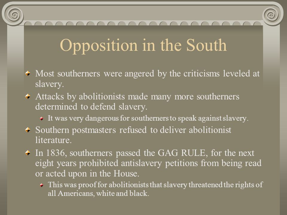 Opposition in the South