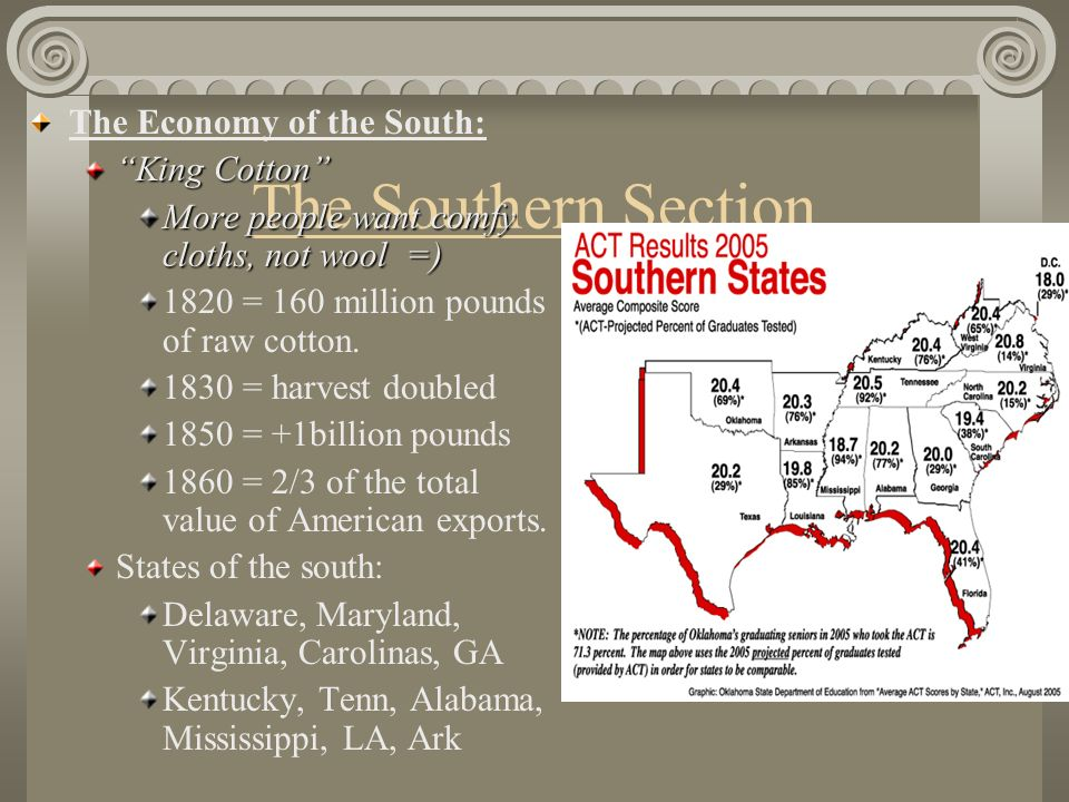 The Southern Section The Economy of the South: King Cotton
