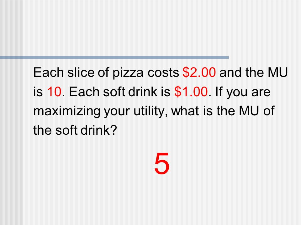 Each slice of pizza costs $2.00 and the MU